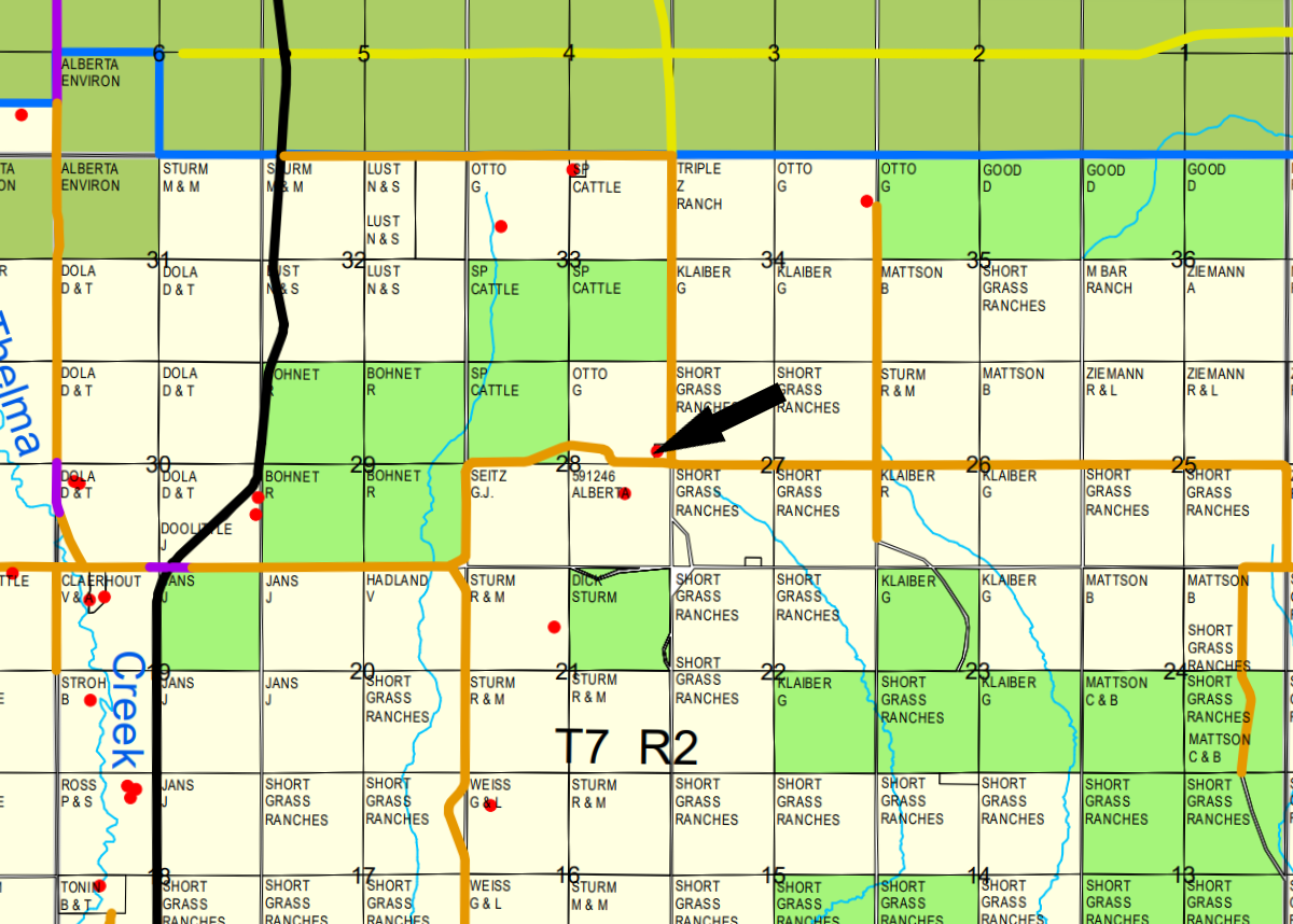 Manning county map with arrow