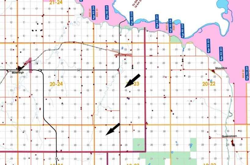 Oakes County Map With Arrow